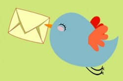 Cartoon of a bluebird flying with a cream envelope in its beak