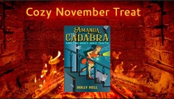 image of Amanda Cadabra and The Hidey-Hole Truth in front of a fireplace. The words Cozy November Treat appear above