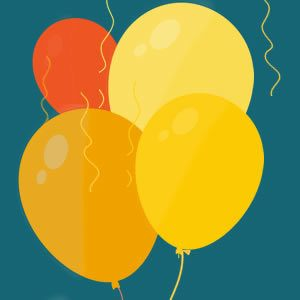4 balloon in shades of gold and orange on a teal background