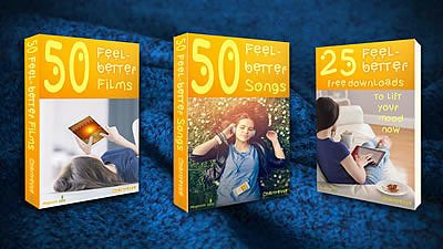3 Feel-better Collections Books on blue blanket