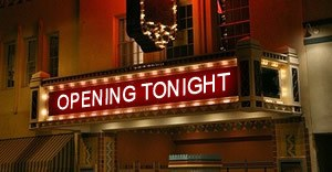 Cinema with opening tonight in lights above doors