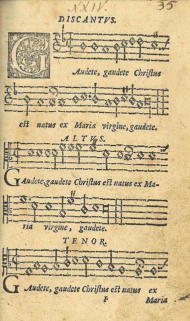 sheet music Gaudete 16th century
