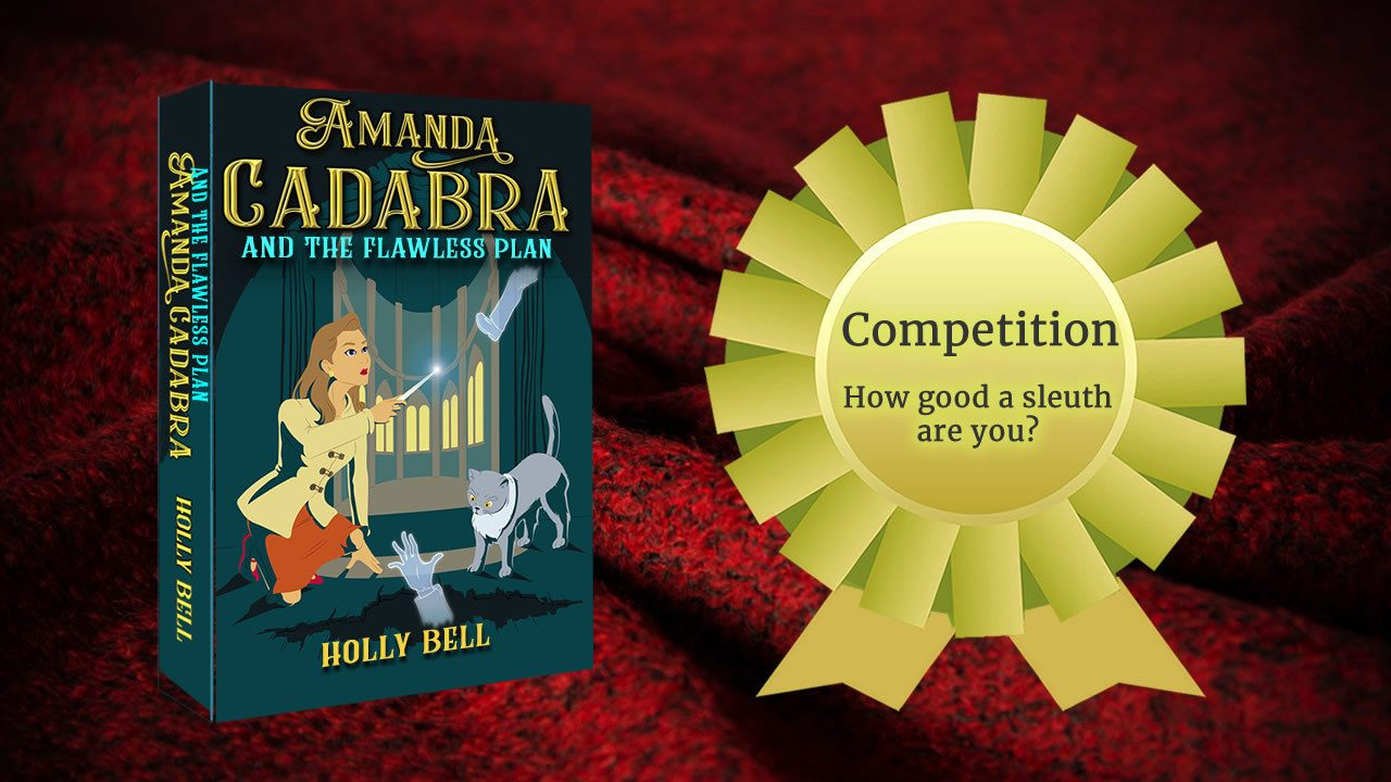 cozy red blanket with new book and golden rosette with the words in it: Competion How gooa sleuth are you?