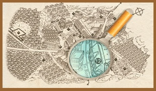 magnifying glass on map of Sunken Madley village