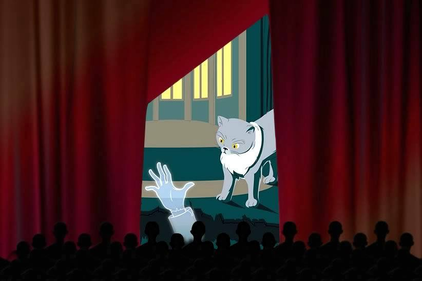 Red theatre curtains parted to see a cat looking at a ghostly hand coming from below
