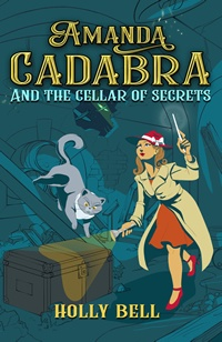 Cover of Amanda Cadabra and The Cellar of Secrets - young woman in red hat shining torch on chest with grey cat