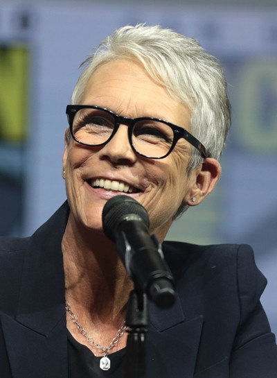 Jamie Lee Curtis smiling .