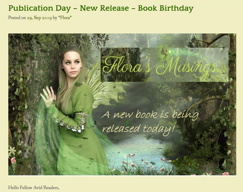 elf in woodland text: Flora's Musings. Book Publication Day. Link to review of Amanda Cadabra Book 4