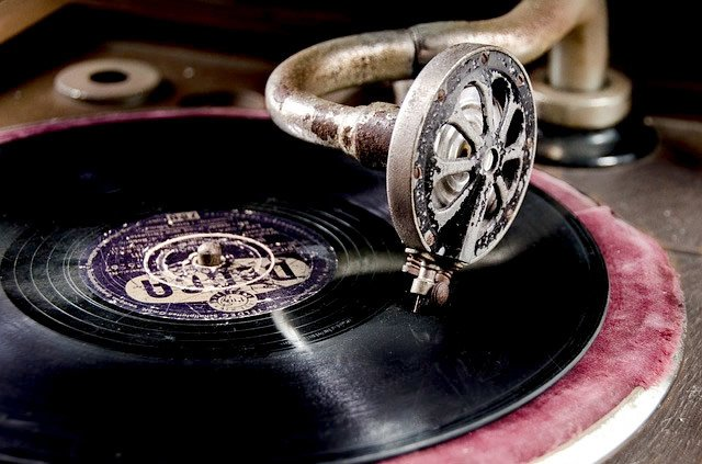 vintage gramophone playing vinyl record