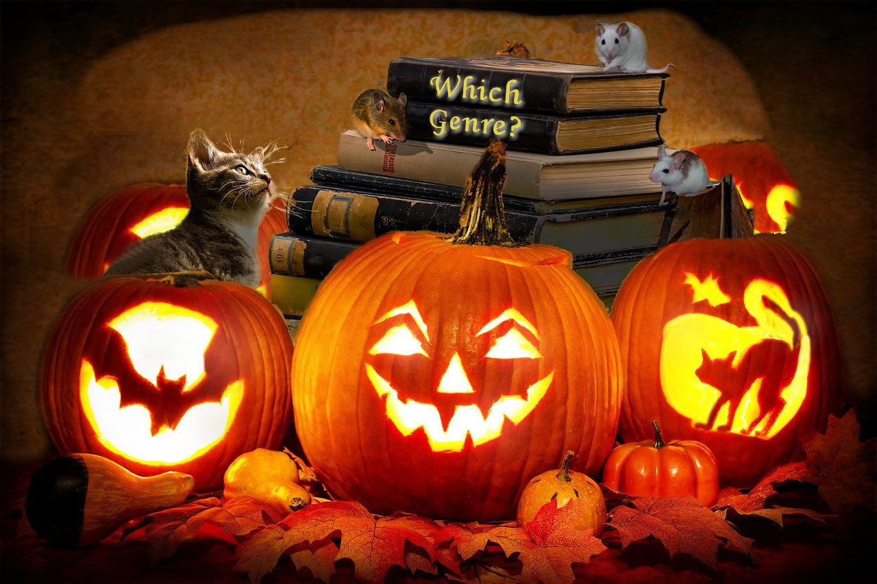 3 lit pumpkins with books a cat and mice and the words Which Genre? on the spine of the top book