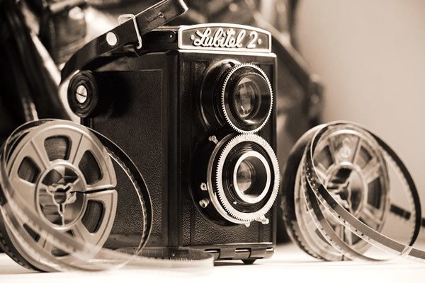 Vintage camera and film