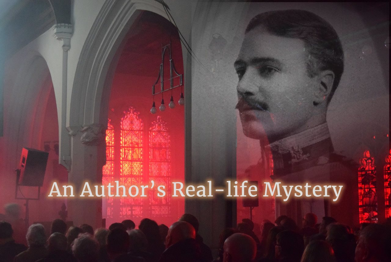 An Author's Real-life Mystery - the inside of the Monken Hadley church lit with red light and smoke effect with the image of Captain Tempest-Hicks in the top right hand corner