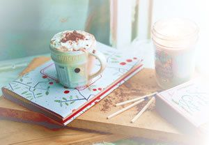 cozy book and hot drink