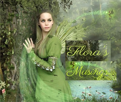 Green winged elf in long green dress in woodland. Text: Flora's Musings