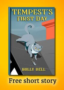 Free short story: Cover of Tempest's First Day, cat on roof chasing mouse