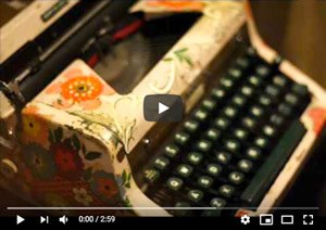 floral painted typewriter