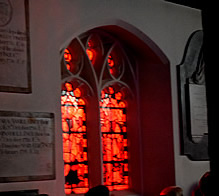 Real-life Mystery - red light coming through church windows