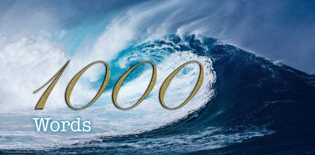 First 1000 Words - gold text 1000 on big curling wave