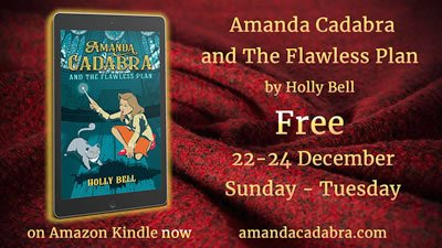 free cozy mystery for 72 hours Amanda Cadabra and The Flawless Plan on ereader cozy red blanket 22- 24th Dec 2019