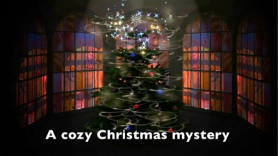 Cozy Christmas Present video link image - Christmas tree in dark bay window, decoration alight in magical swirls at the top fo the tree