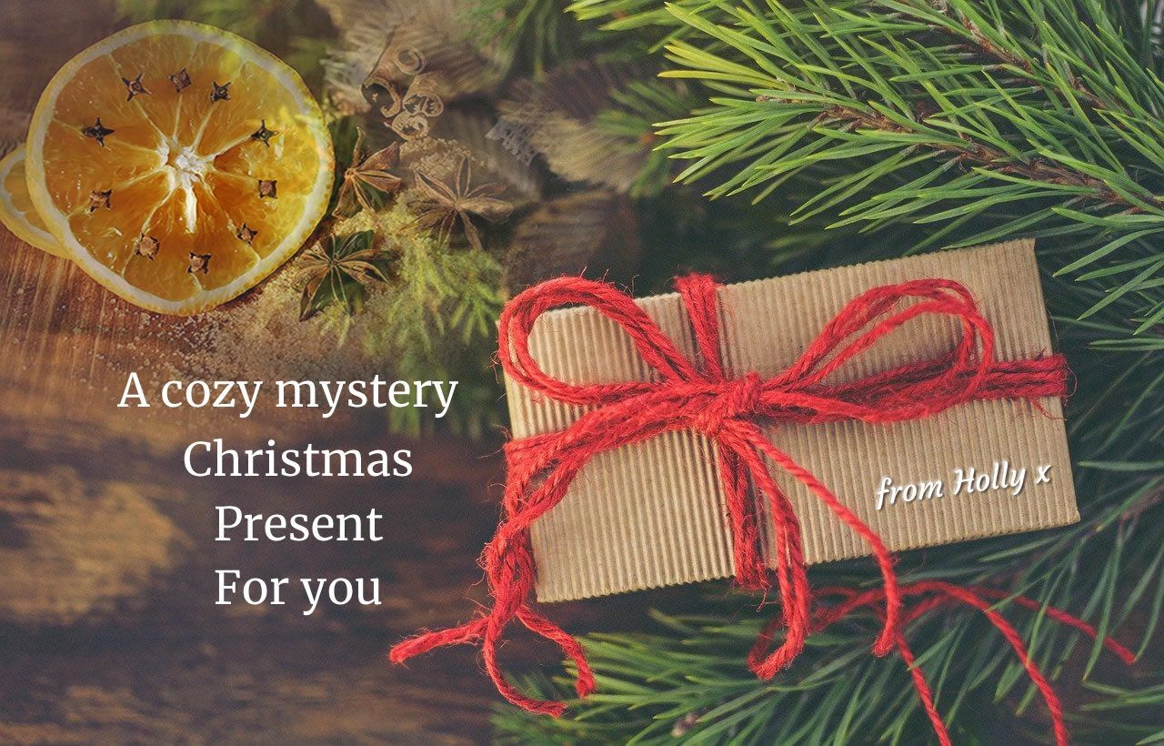 A Cozy Mystery Christmas Present - book wrapped in brown paper and red string next to fir branches and an orange