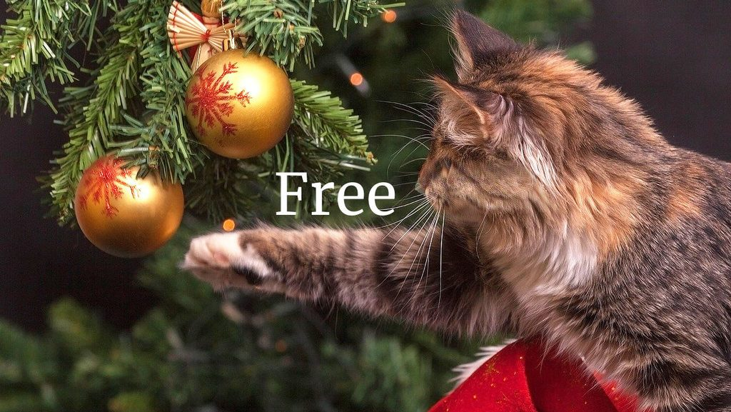 free cozy mystery cat reaching for bauble