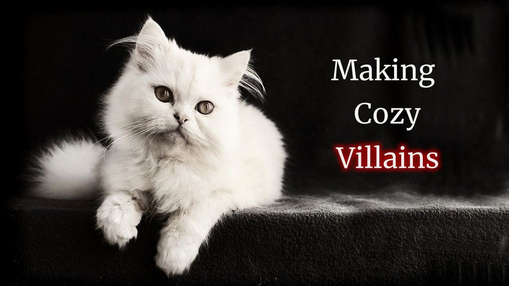 Making Villains in a cozy world - Blofeld's white can on black background