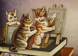 Illustration of cat teaching maths to two other cats using a blackboard