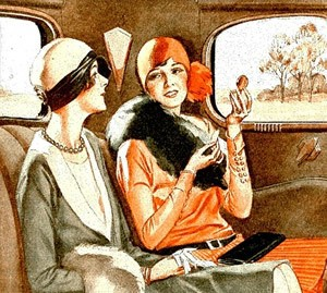 1920s style illustration of two women in sunlit car