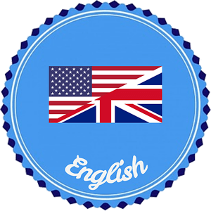 Blue circle with flag, US on one diagonal and UK on the other. Below is the word English