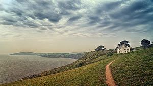 Finding Cornwall. Coast, path leading to a remote house