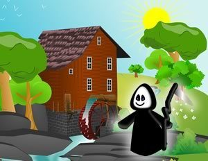Cartoon of smiley grim reaper in countryside