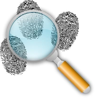 Clues: Magnifying glass over 3 fingerprints