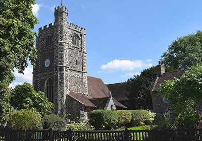 English village church and house - 'Sunken Madley'