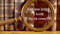 Image link to trailer video for Amanda Cadabra and The Hidden Depths - Vintage magnifying glass in front of antique books. Text inside lens in white: Can you judge a book by its cover?