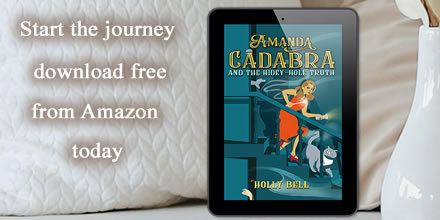 Amanda Cadabra and The Hidey-Hold Truth in e-reader on sofa with cream cusions and text: Start the journey free today - free download from Amazon 12 September 2020