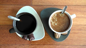 Two cups of coffee from above. Image for interviews