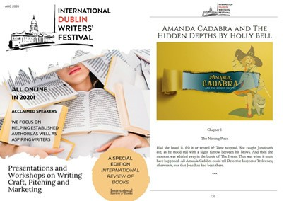 Dublin Interntional Writers Festival Magazine Cover with Chapter 1 of new Amanda Cadabra Book 5
