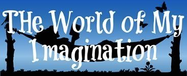 Image link to Nicole Pyles website for guest post by Holly Bell on the books that inspired her from 11-14 years of age. Blue background with white text: The World of My Imagination