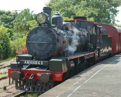 Steam train with AMANDA 6 on the front