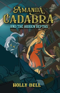 Amanda Cadabra and The Hidden Depths - Amanda in orange sleeveless dress with cat in foreground looking over a pile of books in a dark corner