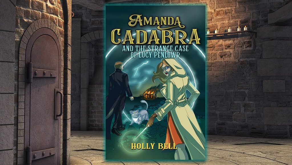 Cover of Amanda Cadabra and The Strange Case of Lucy Penlowr. Young woman in hooded cream coat and orange dress of the right. She holds a glowing wand. It is night. Man on left in black coat looking into a portal leading to the landscape of Bodmin Moor with a burning house in the distance. There is a grey cat with yello eyes in between the two people looking up at the youg woman.