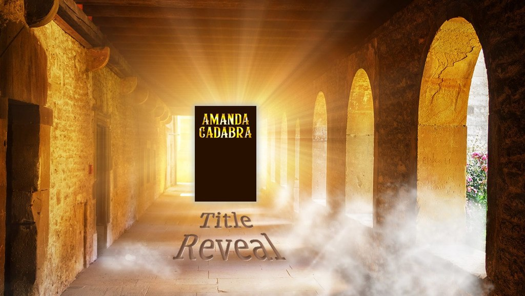 Silhouette of Amanda Cadabra 6 against bright light comgin through a window at the end of a colonade with the words Title Reveal inset in the paving stones