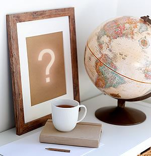 Cream globe, framed question mark and white coffee cup