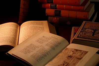 Old history books in low light