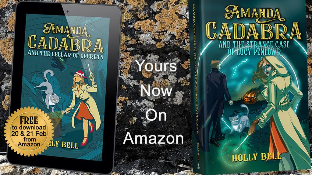 Amanda Cadabra Book 6 paperback and Book2 on ereader leaning on Cornish rock. Text Your now on Amazon. Sticker on Book 2: Free to download from Amazon 20 and 21 Feb