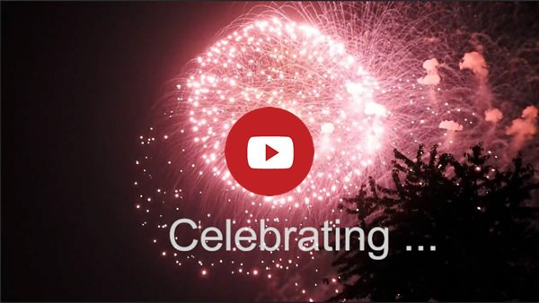 Red firework. Text: Celebrating. This is the link image to Youtube launch vido for paperback release of Amanda Cadabra and The Strange Case of Lucy Penlow with free day for Book 2 in the series