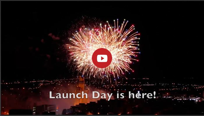 Big fireworks against night sky and text: Launch Day is here! Link to video for launch of Amanda Cadabra and The Strange Case of Lucy Penlowr by Holly Bell