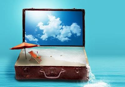 Open suitcase with sunny sky in the lid and a beach umbrella deckchair and sand in the bottom. Water pouring out of the sie onto a blue sea
