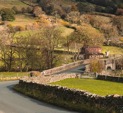Road running through English countryside